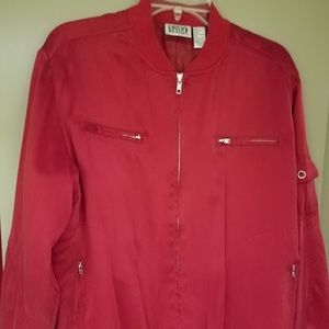 Chico's REd Silk Bomber Jacket,Sz 1(Miss10-14) NEW